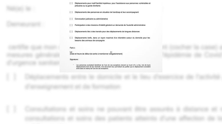 L'attestation dérogatoire a été mise en ligne le vendredi 16 octobre, à quelques heures du couvre-feu. (MINISTERE DE L'INTERIEUR)