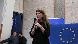 La secrétaire d'Etat Marlène Schiappa lors d'un meeting de campagne de La République en marche pour les élections européennes, à Toulouse, le 17 mai 2019. (SANDRA FASTRE / AFP)
