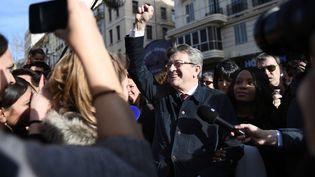 Jean-Luc Mélenchon en visite à Marseille le 8 mars (ANNE-CHRISTINE POUJOULAT / AFP)