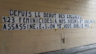 Des collages se sont multipliés sur les murs d'Ile-de France pour dénoncer les féminicides, comme ici à Pantin (Seine-Saint-Denis), le 22 août 2020. (MYRIAM TIRLER / HANS LUCAS / AFP)