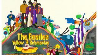 "L'affiche du film ""Yellow Submarine"". Paul McCartney, John Lennon, Ringo Starr, George Harrison, 1968. (LMPC VIA GETTY IMAGES)"