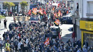 Manifestation du 1er mai à Hennebont dans le Morbihan (photo d'illustration). (THIERRY CREUX / MAXPPP)