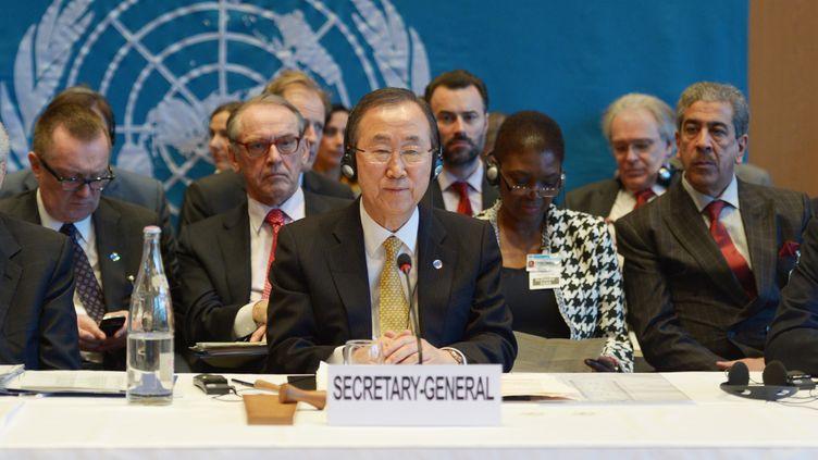 Ban Ki-moon préside la conférence pour la paix à Montreux (Suisse), le 22 janvier 2014. (RAINER JENSEN / DPA)