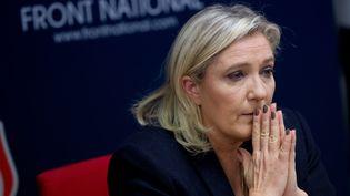 Marine Le Pen lors d'une conférence de presse à Vannes (Morbihan), le 20 novembre 2015. (JEAN-SEBASTIEN EVRARD / AFP)