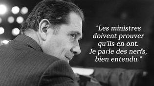 """En juillet 1991, dans une interview au """"Nouvel Observateur"""" citée par Philippe Vandel dans son livre """"C'est mon avis et je le partage"""". (PIERRE GUILLAUD / AFP)"""