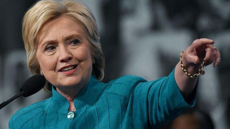 Hillary Clinton, à l'occasion d'un meeting, le 19 juillet 2016, à Las Vegas (Nevada). (ETHAN MILLER / GETTY IMAGES NORTH AMERICA / AFP)