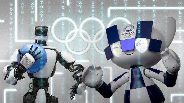 Avec des robots, des voitures autonomes et la reconnaissance faciale, les Jeux olympiques de Tokyo seront à la pointe de la technologie. (AFP / MONTAGE FLORIAN PARISOT / FRANCEINFO SPORT)