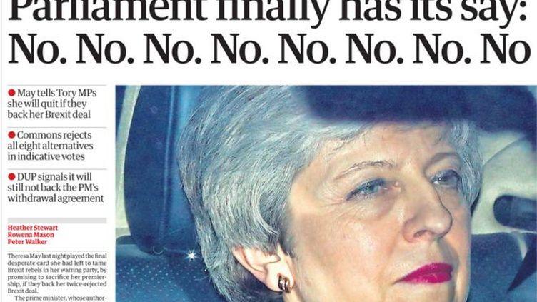 """La une du """"Guardian"""",le 28 mars 2019. (THE GUARDIAN)"""
