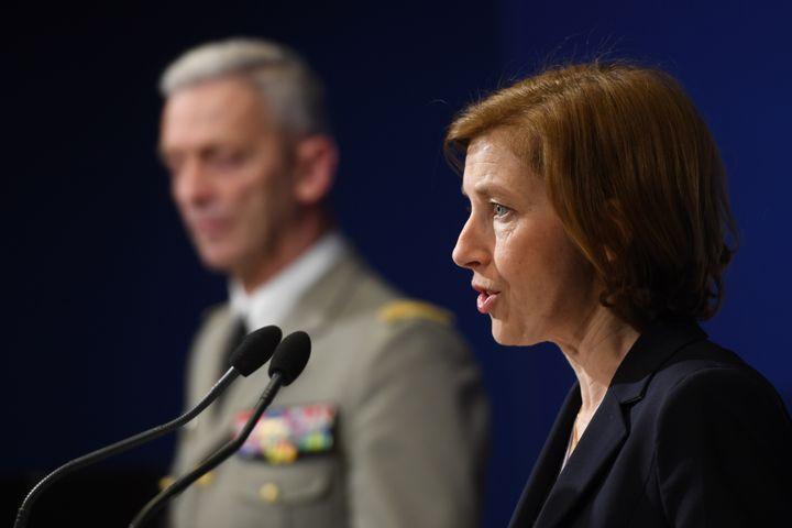 La ministre des Armées Florence Parly en conférence de presse, le 14 avril 2018. (CHRISTOPHE ARCHAMBAULT / AFP)