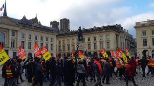 Manifestation contre la réforme des retraites à Reims, le 12 décembre 2019. (AURÉLIE JACQUAND / RADIO FRANCE)