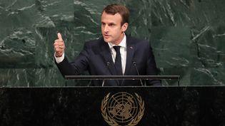 Emmanuel Macron à l'ONU àNew York, le 19 septembre 2017 (DREW ANGERER / GETTY IMAGES NORTH AMERICA / AFP)