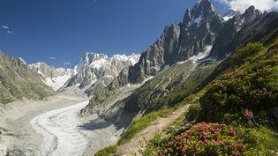 La mer de Glace, dans le massif du Mont-Blanc, est visitée chaque année par des milliers de personnes. (JEAN-DIDIER RISLER / ONLY FRANCE / AFP)