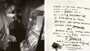 """A gauche, Ettore Sottsass, Neal Cassady à Los Gatos, Californie, 1962, Centre Pompidou, MNAM-CCI, Bibliothèque Kandinsky, Fonds Sottsass - A droite, Gregory Corso, poème - A droite, Gregory Corso, """"There is No More Street Corner"""", poème manuscrit inédit, 1960  (A gauche, (c) Adagp, Paris 2016 - A droite © DR, photo © Archives Jean-Jacques Lebel)"""
