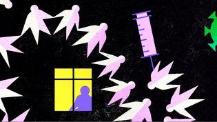 La France reste encore très éloignée d'une couverture vaccinale à hauteur de 77% à 80% de la population, qui assurerait l'immunité collective. (JESSICA KOMGUEN / FRANCEINFO)
