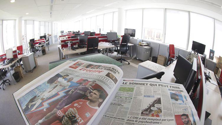 Les bureaux du journal l'Equipe, en 2015. (JOEL SAGET / AFP)