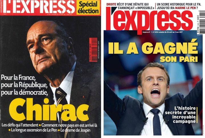 """Unes de l'hebdomadaire """"L'Express""""du 25 avril 2002 et du 24 avril 2017. (L'EXPRESS)"""