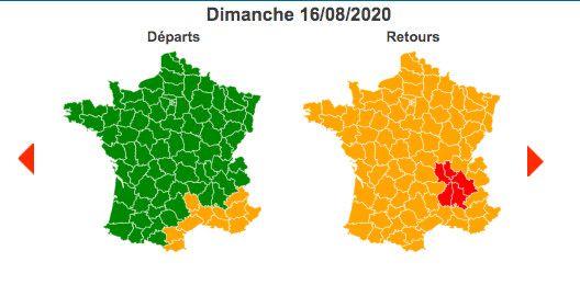 Dimanche 16 août 2020 est classé vert dans le sens des départs, orange au niveau national sur les retours et rougedans la région Auvergne-Rhône-Alpes. (BISON FUTE)