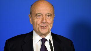 Alain Juppé lors d'un discours à Bordeaux (Gironde), le 7 mai 2017. (NICOLAS TUCAT / AFP)