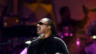Stevie Wonder en répétition le 9 octobre 2004 à Washington (DAVID S. HOLLOWAY / GETTY IMAGES NORTH AMERICA / AFP)