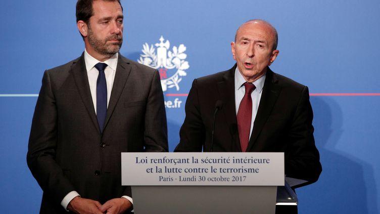 Christophe Castaner et Gérard Collomb, lors d'une conférence de presse, à l'Elysée, le 30 octobre 2017. (REUTERS)