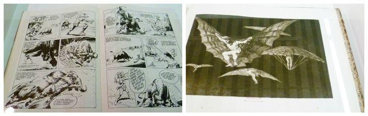 """""""Modo de volar"""" Francisco Goya - Eau-forte, aquatinte et pointe sèche et planche de Rahan dans la même vitrine  (Odile Morain)"""