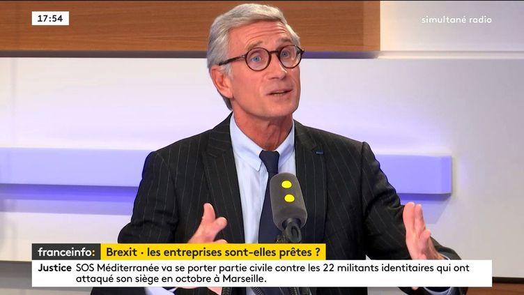 Thierry Drilhon, président de la chambre de commerce franco-britannique sur franceinfo, le mercredi 17 octobre 2018. (FRANCEINFO / RADIOFRANCE)