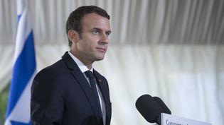 Emmanuel Macron, dimanche 16 juillet 2017 lors de la commémoration de la rafle du Vél' d'Hiv. (KAMIL ZIHNIOGLU / AFP)