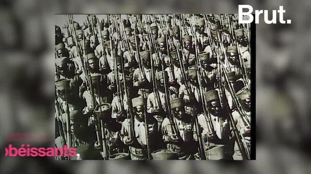 """Ils sont des centaines de milliers à avoir été enrôlés, parfois de force. Envoyés par l'armée française en première ligne, ce sont les tirailleurs sénégalais. L'auteur David Diop leur a consacré un livre, """"Frères d'âme"""". Pour Brut, il revient sur leur histoire."""
