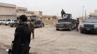Des soldats membres de la Golden Division, unité d'élite irakienne, à Mossoul. (MATHILDE LEMAIRE / RADIO FRANCE)