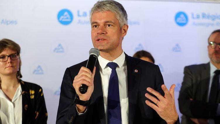 Laurent Wauquiez, lors de ses vœux à la presse, le 29 janvier 2018, à Lyon. (MAXPPP)