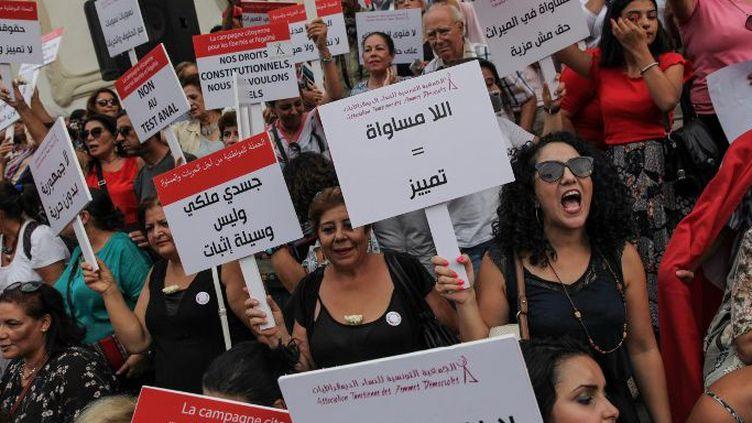 Tunis (Tunisie), le 13 août 2018. Manifestation pour soutenir le projet de loi en faveur de l'égalité des sexes. (CHEDLY BEN IBRAHIM / NURPHOTO)