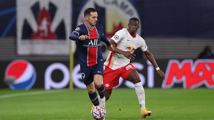 Sarabia avec PSG au RB Leipzig (RONNY HARTMANN / AFP)