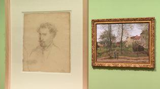 Un portrait de Camille Pissarro et une de ses oeuvres - Exposition L'atelier moderne -Kunstmuseum Basel (B. Stemmer / France Télévisions)