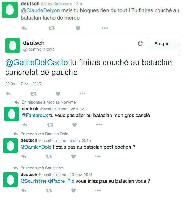 Capture d'écran des réponses de@lacathelinierre, un compte appartenant à Lorànt Deutsch selon Buzzfeed. (BUZZFEED)
