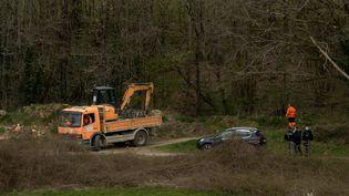 La zone de fouilles pour retrouver le corps d'Estelle Mouzin dans les Ardennes, près de Charleville-Mézières le 8 avril 2021 (KAREN KUBENA / MAXPPP)