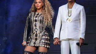 Beyoncé et Jay-Z lors d'un concert à l'Etihad Stadium de Manchester (Royaume-Uni), le 13 juin 2018. (PICTUREGROUP/SHUTTERSTO/SIPA / REX)
