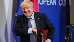 Le Premier ministre britannique Boris Johnson lors d'une conférence de presse à Bruxelles (Belgique), le 17 octobre 2019. (DOMINIKA ZARZYCKA / NURPHOTO / AFP)