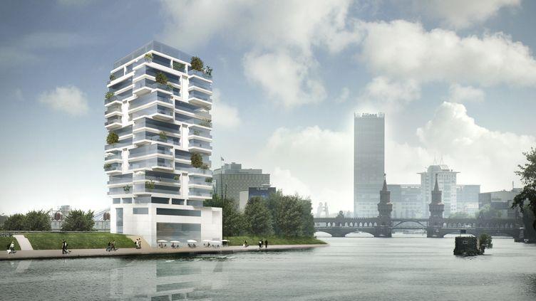 Le projet d'immeuble de 36 appartements qui doit être construit le long de la Spree et du Mur de Berlin (Allemagne). (LIVING BAUHAUS / AFP)
