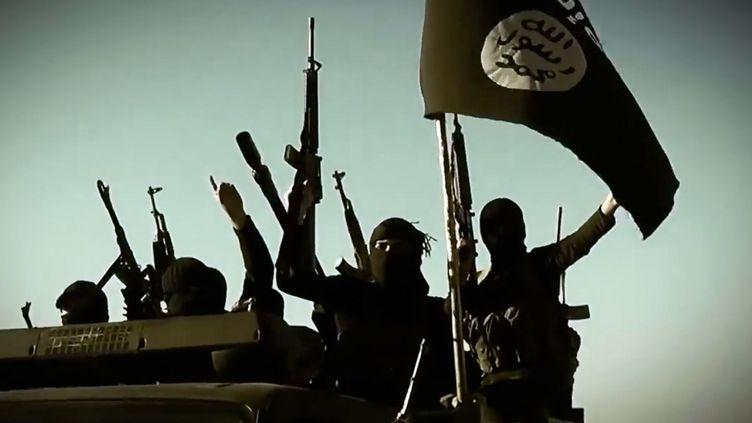Des combattants du groupe Etat islamique, le 17 mars 2014, dans la province d'Al-Anbar, en Irak. (AL-FURQAN MEDIA / AFP)