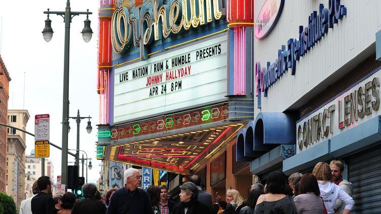 En 2012, deux ans et demi après une longue hospitalisation, Johnny Hallyday avait repris les concerts aux Etats-Unis, ici à Los Angeles. (FREDERIC J. BROWN / AFP)