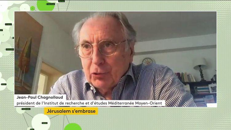 Jean-Paul Chagnollaud, président de l'Institut de recherche et d'études Méditerranée Moyen-Orient, le 11 mai 2021 sur franceinfo canal 27. (FRANCEINFO)