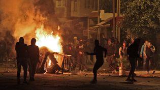 Des manifestants à Siliana, à environ 130 kilomètres au sud de Tunis (Tunisie), le 11 janvier 2018. (FAOUZI DRIDI / AFP)