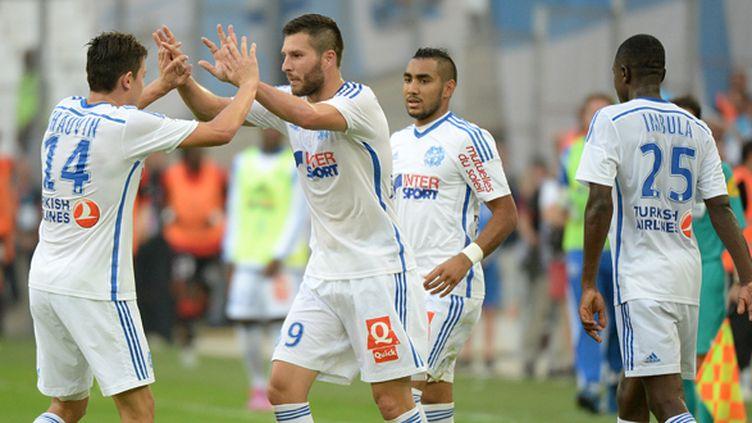 PIerre-André Gignac et ses coéquipiers, samedi dernier face à Rennes au stade Vélodrome (Marseille).  (BORIS HORVAT / AFP)