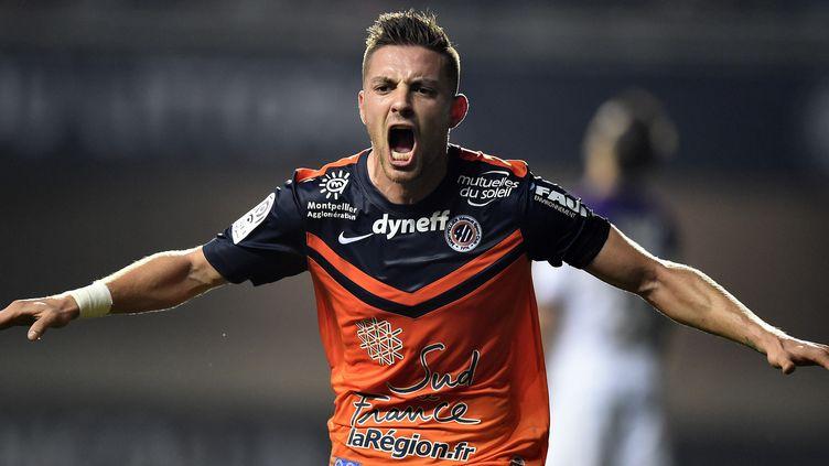 L'attaquant montpelliérain Anthony Mounier a marqué le but de la victoire (PASCAL GUYOT / AFP)