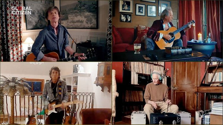 """Les Rolling Stones,Mick Jagger, Keith Richards, Ronnie Wood et Charlie Watts, jouent """"You can't always get what you want"""" pour le concert virtuel """"One World: Together At Home"""", le 18 avril 2020. (GETTY IMAGES / GETTY IMAGES NORTH AMERICA)"""
