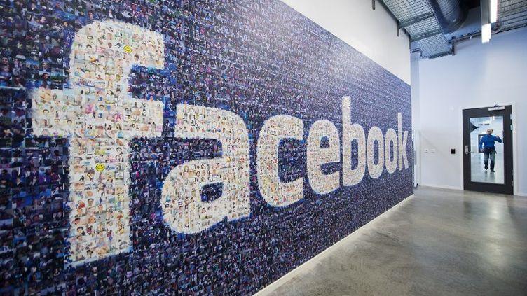 Un logo Facebook affiché dans un centre de données de la compagnie, le 7 novembre 2013, à Lulea (Suède). (JONATHAN NACKSTRAND / AFP)