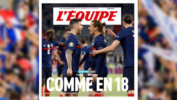 """La une du journal """"L'Equipe"""", le 16 juin2021, après la victoirede l'Equipe de France face à l'Allemagne, lors de l'Euro de football. (L'EQUIPE)"""