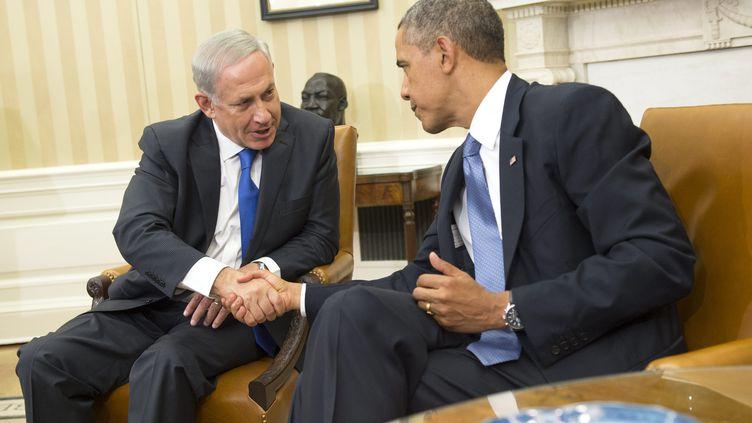 Le premier ministre israélien, Benyamin Nétanyahou, et le président des Etats-Unis, Barack Obama, lors d'une conférence de presse commune à Washington, le 30 septembre 2013. (MAXPPP)