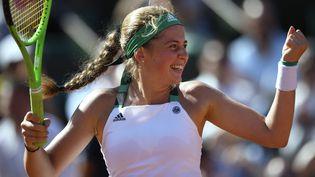 Jelena Ostapenko, le 8 juin 2017 à Roland Garros. (ERIC FEFERBERG / AFP)