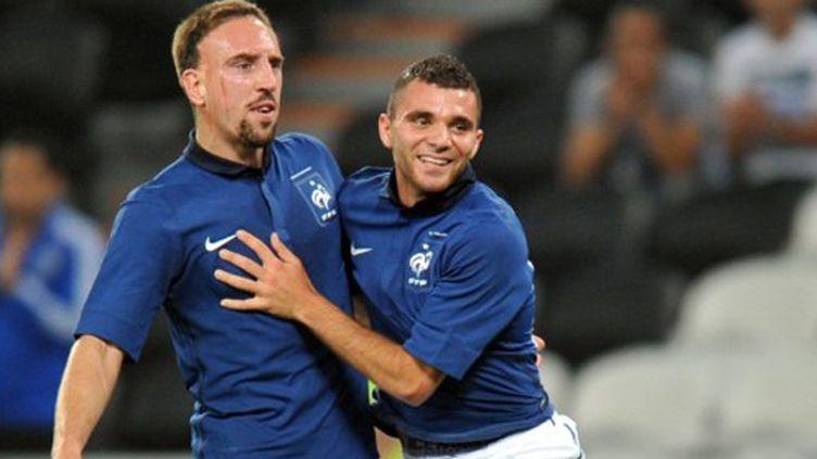Franc Ribéry et Marvin Martin, célébrant le premier but de ce dernier en Bleu.